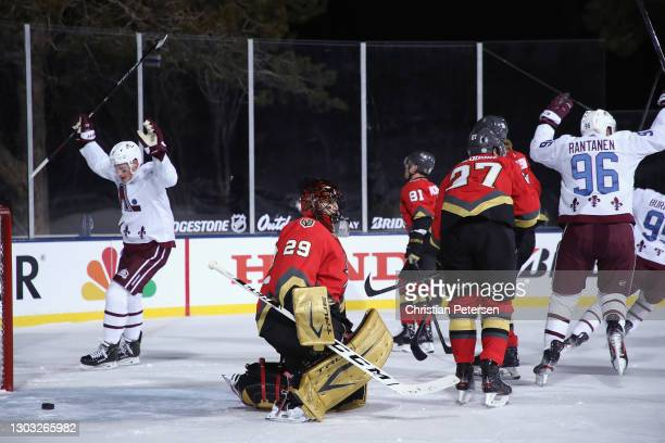 Cale Makar and Mikko Rantanen of the Colorado Avalanche celebrate a goal by Devon Toews against Marc-Andre Fleury of the Vegas Golden Knights at...