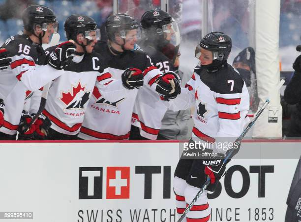 Cale Makar of Canada celebrates his goal against the United States in the first period during the IIHF World Junior Championship at New Era Field on...