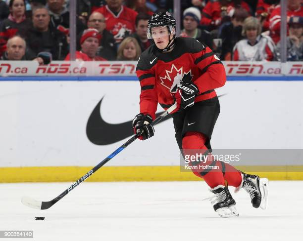 Cale Makar of Canada during the third period against Finland during the 2018 IIHF World Junior Championship at KeyBank Center on December 26 2017 in...