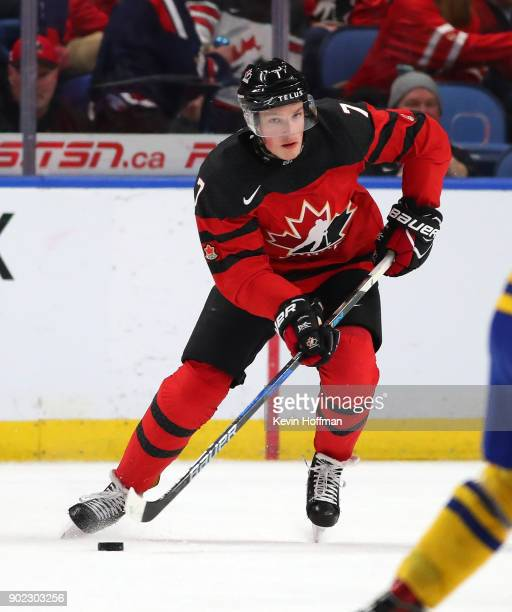 Cale Makar of Canada in play against Sweden during the Gold medal game of the IIHF World Junior Championship at KeyBank Center on January 5 2018 in...