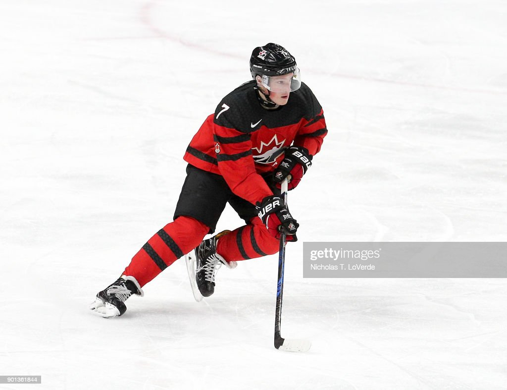 Cale Makar #7 of Canada skates the puck against the Czech Republic during the third period of play in the IIHF World Junior Championships Semifinal game at KeyBank Center on January 4, 2018 in Buffalo, New York.