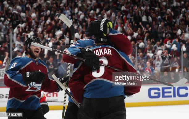 Cale Makar of the Colorado Avalanche celebrates after scoring his first NHL goal against the Calgary Flames in Game Three of the Western Conference...
