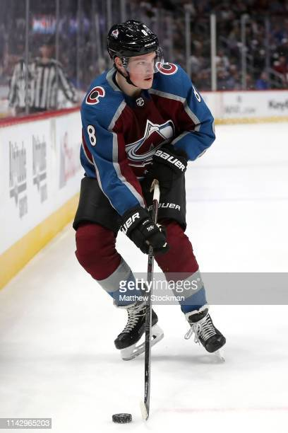 Cale Makar of the Colorado Avalanche looks for an opening against the Calgary Flames in the third period during Game Three of the Western Conference...