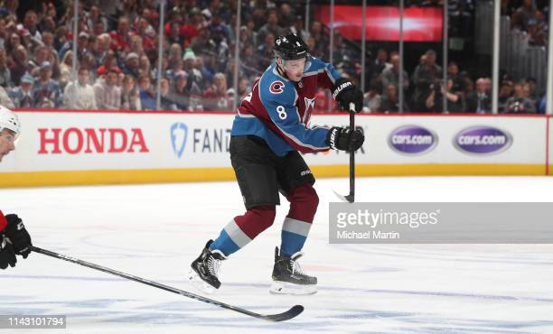 Cale Makar of the Colorado Avalanche passes during his first NHL game against the Calgary Flames in Game Three of the Western Conference First Round...