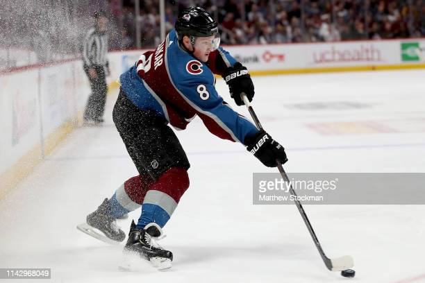 Cale Makar of the Colorado Avalanche passes the puck while playing the Calgary Flames in the second period during Game Three of the Western...