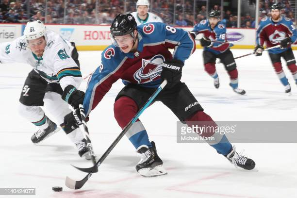 Cale Makar of the Colorado Avalanche skates against Justin Braun of the San Jose Sharks in Game Three of the Western Conference Second Round during...