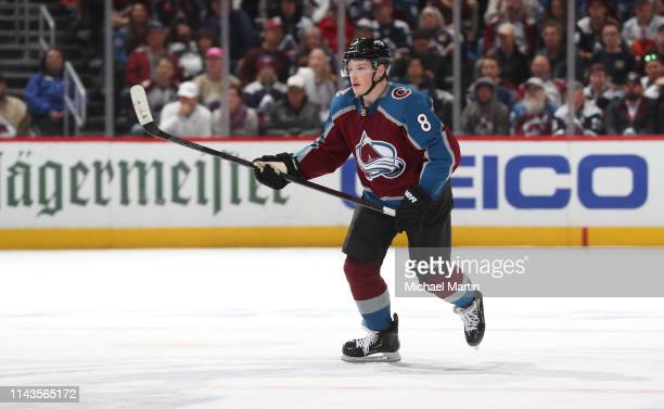 Cale Makar of the Colorado Avalanche skates against the Calgary Flames in Game Four of the Western Conference First Round during the 2019 NHL Stanley...