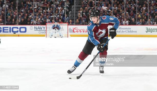 Cale Makar of the Colorado Avalanche skates against the San Jose Sharks in Game Three of the Western Conference Second Round during the 2019 NHL...