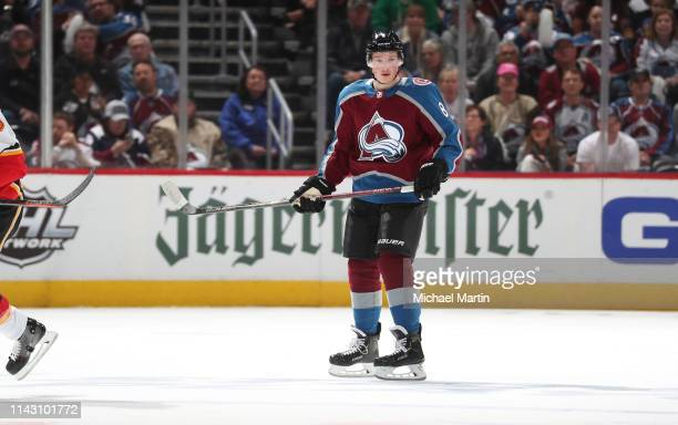 Cale Makar of the Colorado Avalanche skates during his first NHL game against the Calgary Flames in Game Three of the Western Conference First Round...