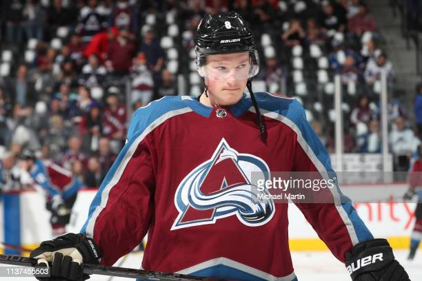 Cale Makar of the Colorado Avalanche skates during warm ups prior to Game Three of the Western Conference First Round during the 2019 NHL Stanley Cup...