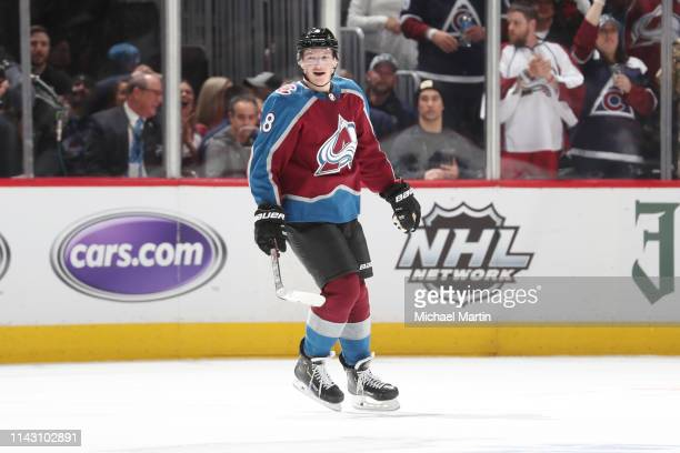 Cale Makar of the Colorado Avalanche smiles after scoring his first NHL goal against the Calgary Flames in Game Three of the Western Conference First...