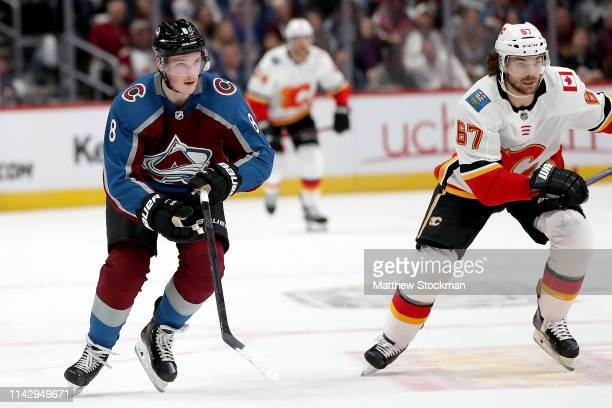 Cale Makar of the Colorado Avalanche starts against the Calgary Flames in the first period during Game Three of the Western Conference First Round...