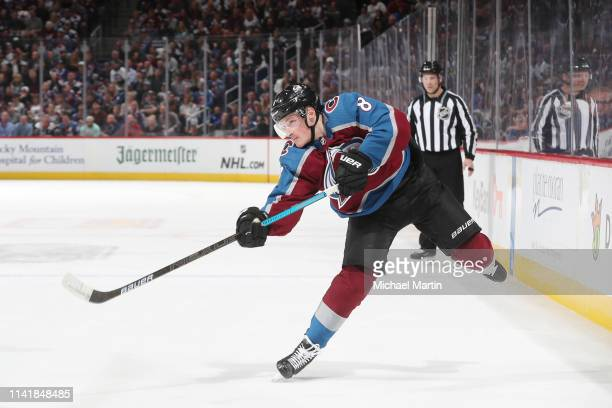 Cale Makar of the Colorado Avalanche takes a shot against the San Jose Sharks in Game Six of the Western Conference Second Round during the 2019 NHL...