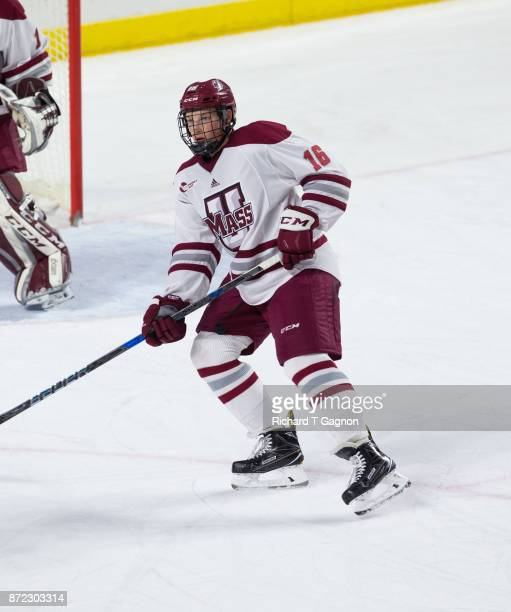 Cale Makar of the Massachusetts Minutemen skates against the Providence College Friars during NCAA hockey at the Mullins Center on November 9 2017 in...