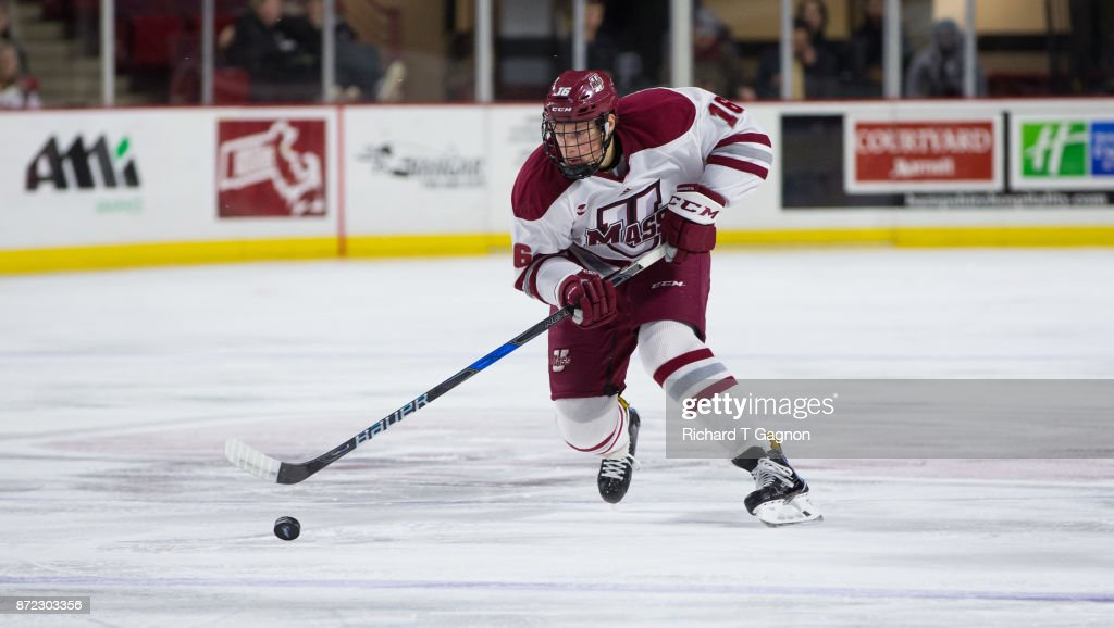 Cale Makar #16 of the Massachusetts Minutemen skates against the Providence College Friars during NCAA hockey at the Mullins Center on November 9, 2017 in Amherst, Massachusetts. Massachusetts won 5-2.