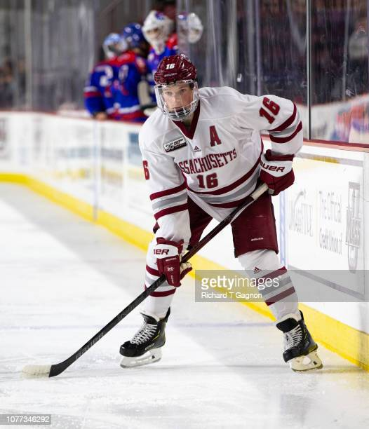 Cale Makar of the Massachusetts Minutemen skates against the Massachusetts Lowell River Hawks during NCAA hockey at the Mullins Center on January 4...