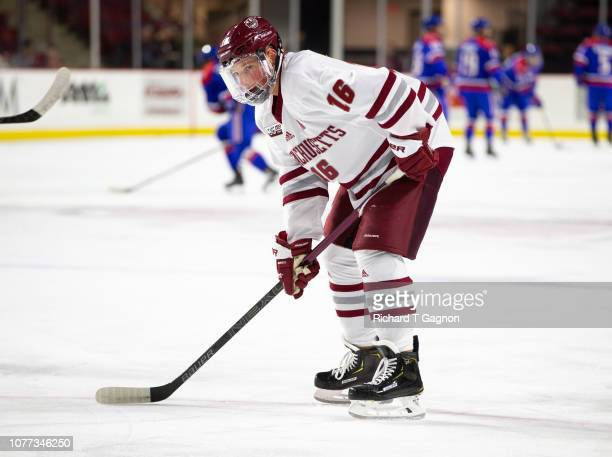 Cale Makar of the Massachusetts Minutemen warms up before a game against the Massachusetts Lowell River Hawks during NCAA hockey at the Mullins...