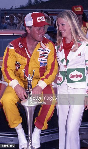 Cale Yarborough in Victory Lane looks on after winning the Southeastern 500 race on April 17 1977 at the Bristol International Speedway in Bristol...