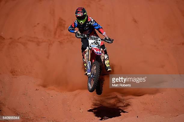 Caleb Auricht competes during the 2016 Finke Desert Race on June 13 2016 in Alice Springs Australia