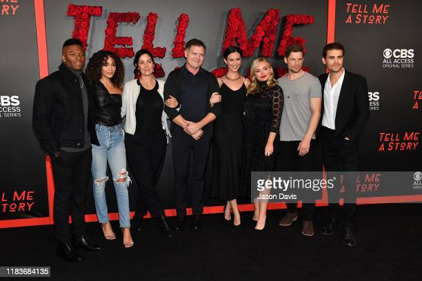 "Caleb Castille, Ashley Madekwe, Carrie-Anne Moss, Kevin Williamson, Odette Annable, Natalie Alyn Lind, Matt Lauria, and Paul Wesley arrive at ""Tell..."
