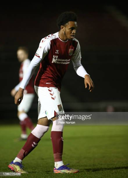 Caleb Chukwuemeka of Northampton Town in action during the Papa John's Trophy match between Northampton Town and Stevenage at PTS Academy Stadium on...