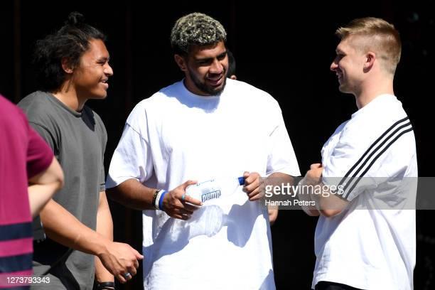 Caleb Clarke Hoskins Sotutu and Jack Goodhue exit the marae during the New Zealand All Blacks visit to Mataatua Marae on September 21 2020 in...