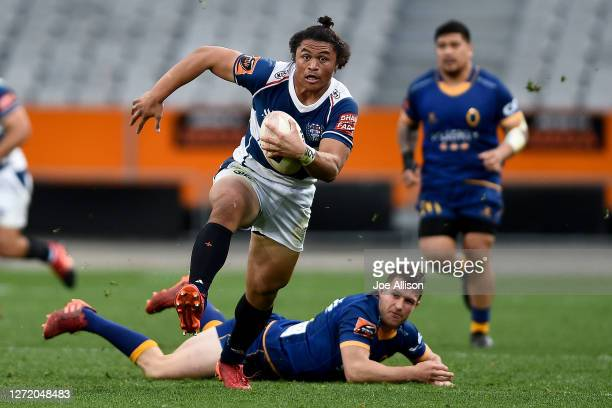 Caleb Clarke of Auckland makes a break during the round 1 Mitre 10 Cup match between Otago and Auckland at Forsyth Barr Stadium on September 12 2020...