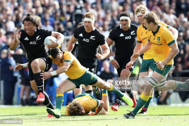 Caleb Clarke of the All Blacks is tackled during the Bledisloe Cup match between the New Zealand All Blacks and the Australian Wallabies at Eden Park...