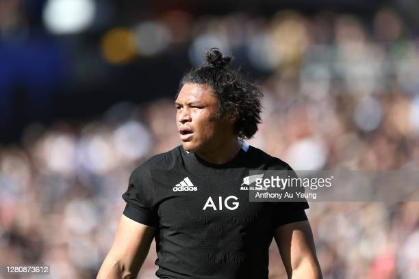 Caleb Clarke of the All Blacks looks on during the Bledisloe Cup match between the New Zealand All Blacks and the Australian Wallabies at Eden Park...