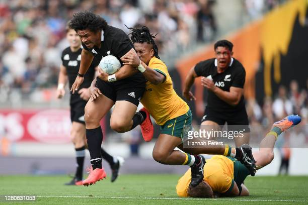 Caleb Clarke of the All Blacks makes a break during the Bledisloe Cup match between the New Zealand All Blacks and the Australian Wallabies at Eden...