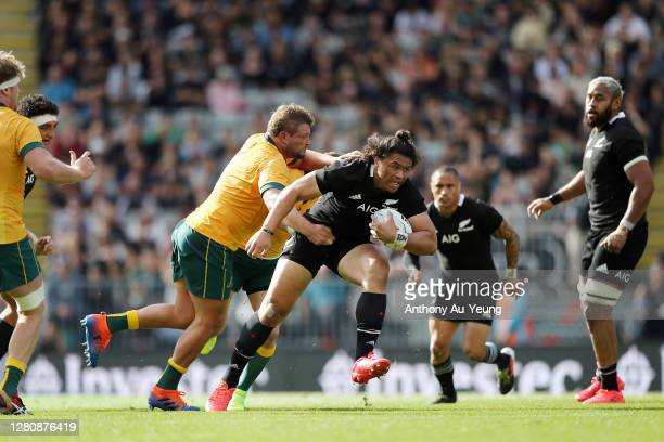 Caleb Clarke of the All Blacks on the charge against James Slipper of the Wallabies during the Bledisloe Cup match between the New Zealand All Blacks...