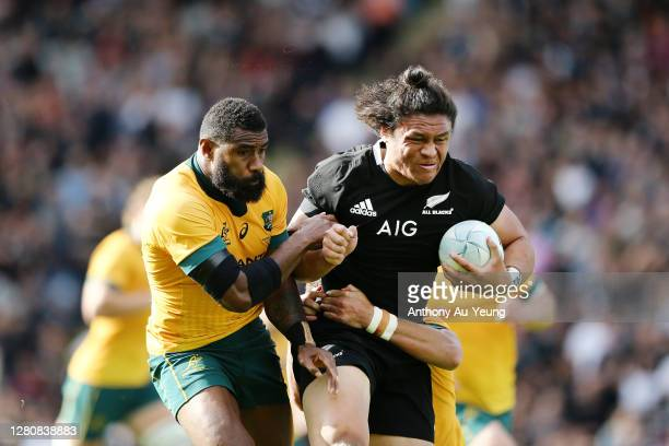 Caleb Clarke of the All Blacks on the charge against Marika Koroibete of the Wallabies during the Bledisloe Cup match between the New Zealand All...