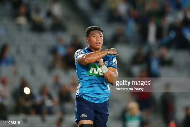 Caleb Clarke of the Blues celebrates after scoring a try during the round 8 Super Rugby match between the Blues and Waratahs at Eden Park on April 06...
