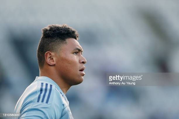 Caleb Clarke of the Blues looks on during warmup prior to the round 6 Super Rugby Aotearoa match between the Blues and the Hurricanes at Eden Park,...