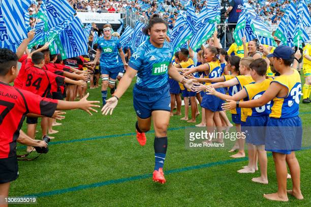 Caleb Clarke of the Blues runs onto the field for the round three Super Rugby Aotearoa match between the Blues and the Highlanders at Eden Park, on...