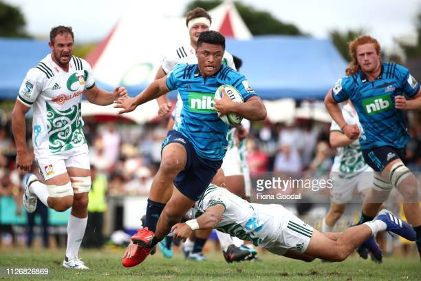 Caleb Clarke scores a try for the Blues during the Super Rugby PreSeason match between the Blues and Chiefs at Kiakohe Rugby Club on February 02 2019...