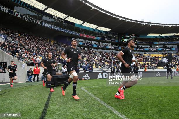 Caleb Clarke Tupou Vaa'i and Hoskins Sotutu run out during the Bledisloe Cup match between the New Zealand All Blacks and the Australian Wallabies at...
