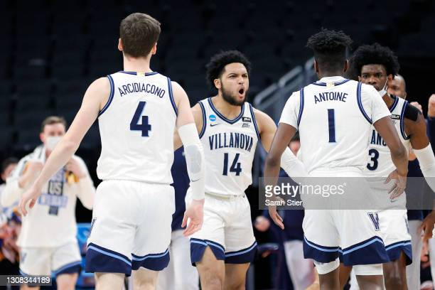 Caleb Daniels of the Villanova Wildcats reacts to a play against the North Texas Mean Green in the first half of their second round game of the 2021...
