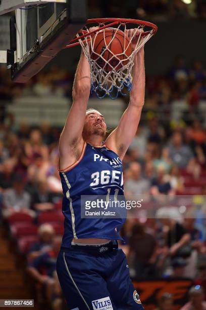 Caleb Davis of the Adelaide 36ers warms up prior to the round 11 NBL match between the Adelaide 36ers and the Cairns Taipans at Titanium Security...