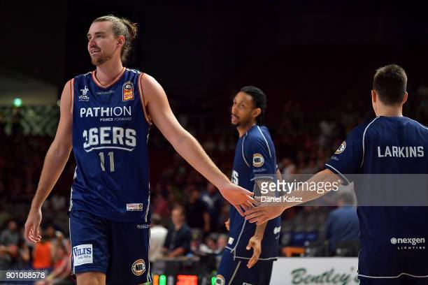 Caleb Davis of the Adelaide 36ers warms up prior to the round 13 NBL match between the Adelaide 36ers and the Perth Wildcats at Titanium Security...