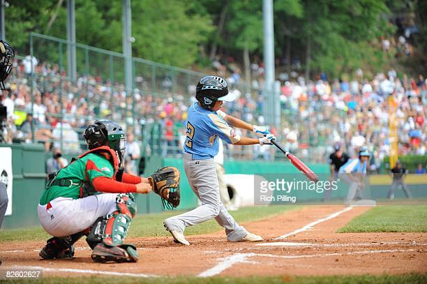 Caleb Duhay of the Waipio Little League team bats during the World Series Championship game against the Matamoros Little League team at Lamade...