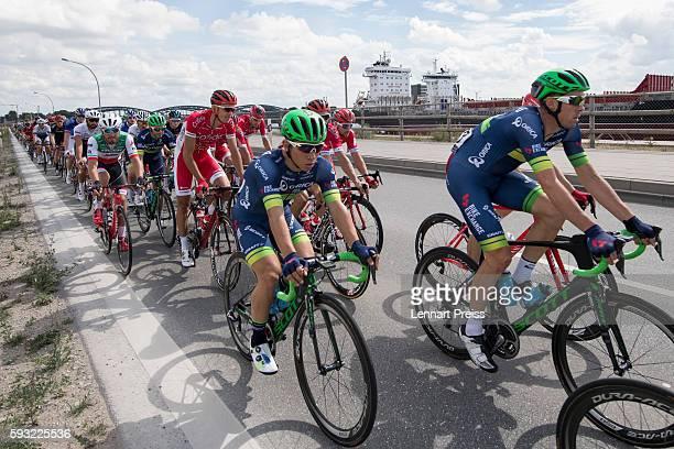Caleb Ewan from Australia rides in the pack during the Euroeyes Cyclassics Hamburg on August 21 2016 in Hamburg Germany