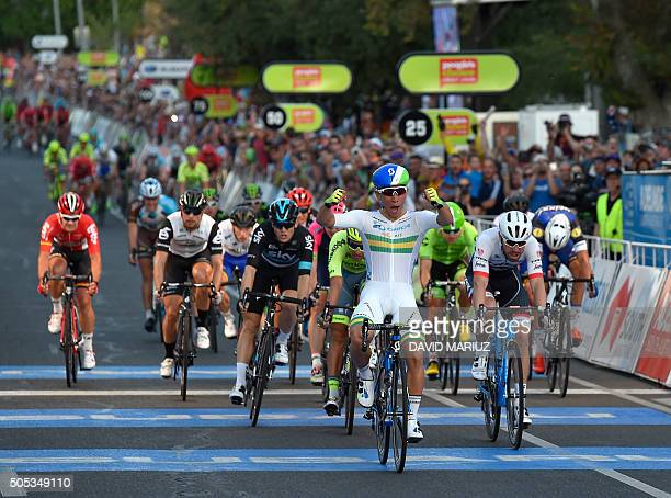 Caleb Ewan from the Orica Greenedge team wins the People's Choice Classic cycling race ahead of the Tour Down Under in Adelaide on January 17 2016...