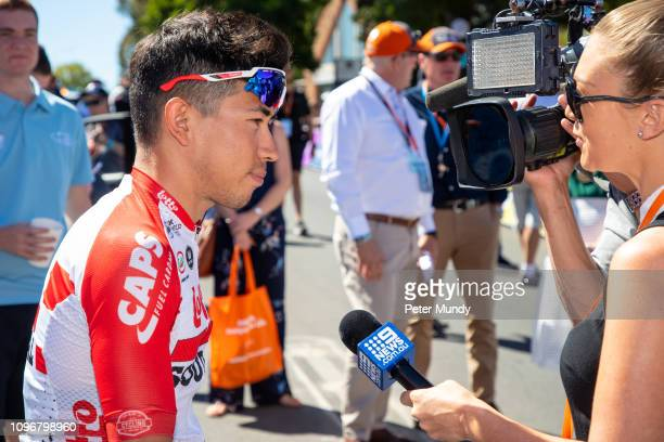 ADELAIDE AUSTRALIA JANUARY 20 Caleb Ewan of Australia and LottoSoudal at the start of Stage 6 from McLaren Vale to Willunga Hill of the Santos Tour...