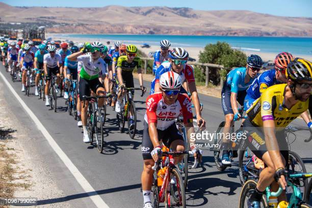 ADELAIDE AUSTRALIA JANUARY 20 Caleb Ewan of Australia and LottoSoudal in the peleton on the Espalande at Aldinga beach during Stage 6 from McLaren...
