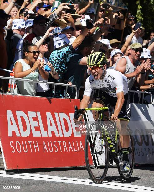 Caleb Ewan of Australia and MitcheltonScott celebrates after crossing the finish line to win stage two of the 2018 Tour Down Under on January 17 2018...