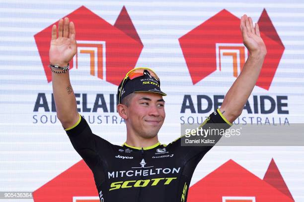 Caleb Ewan of Australia and MitcheltonScott celebrates on the podium after claiming the young rider jersey during stage one of the 2018 Tour Down...