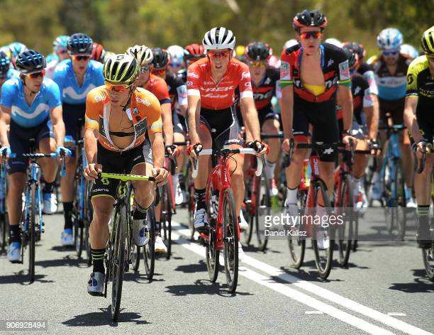 Caleb Ewan of Australia and MitcheltonScott competes during stage four of the 2018 Tour Down Under on January 19 2018 in Adelaide Australia