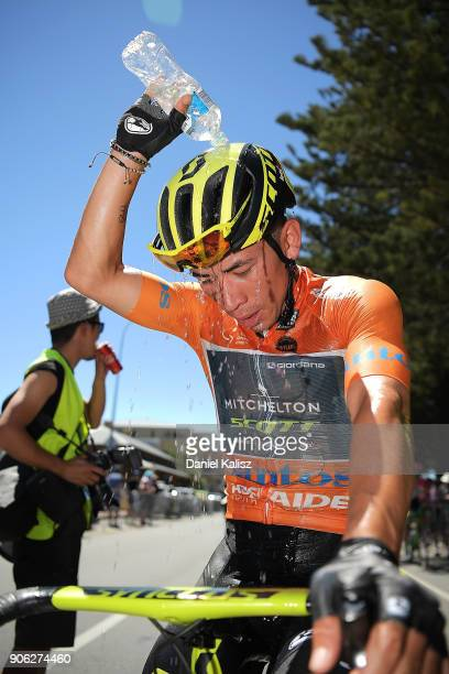 Caleb Ewan of Australia and MitcheltonScott cools off after stage three of the 2018 Tour Down Under on January 18 2018 in Adelaide Australia