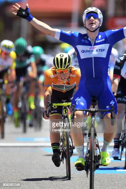 Caleb Ewan of Australia and MitcheltonScott crosses the finish line behind race winner Elia Viviani of Italy and QuickStep Floors during stage three...